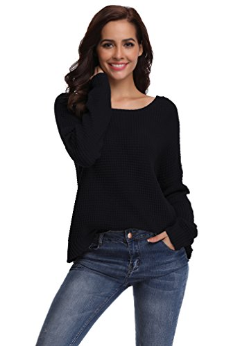 (SHEKINI Women's Crew Neck Dolman Sleeve Dropped Shoulder Criss Cross Backless Casual Loose Knit Pullover Sweaters (Small, Black - 8003))