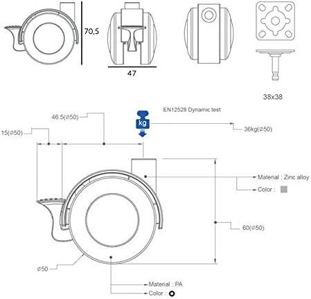 QC JA40CR22P 4 Roues pour meubles 2 avec frein et 2 sans frein Diam/ètre 40 mm avec plaque de montage et vis incluses.