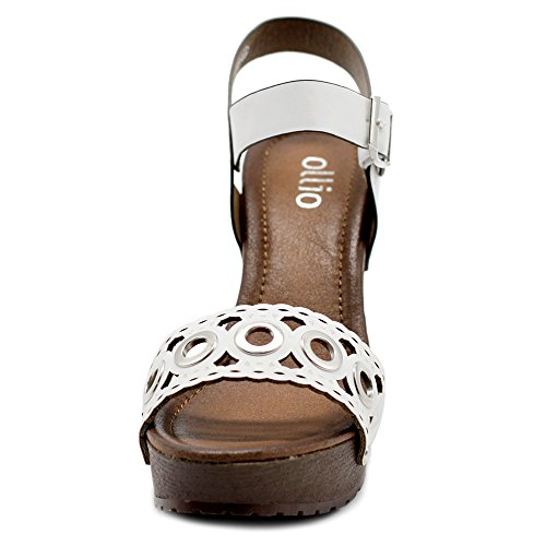 Cutout Heeled Ankle Shoe Women's Sandals Platform Ollio White Strap Scalloped Chunky RqC7ZCwEx