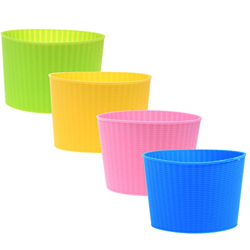 COMOS Pack of 4 Assorted Colors Heat-resistant Silicone Coffee Cup (Silicon Sleeve)