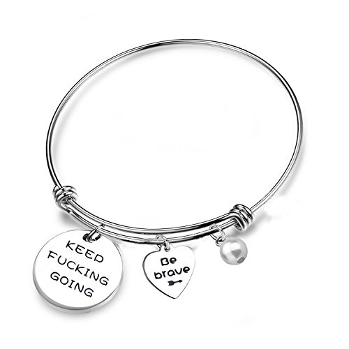 RQIER Keep Fucking Going Bracelet Expandable Wire Bangle with Be Brave Charms Friend Encouragement Gift (Silver) by RQIER