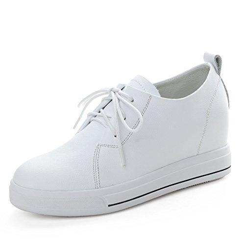 Primavera Zapatos De Cuero Blanco,Aumento Coreanos Zapatos Femeninos,Zapatos De Suela Espesa,Zapatos Plano Casuales A