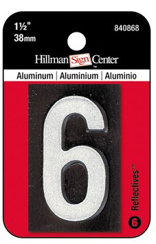 Price comparison product image Hillman 1-1/2 Inch Reflective Black Aluminum Mailbox Number #6
