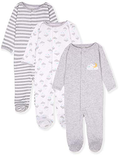 Maybe Baby Kids Infant Boys' and Girls' 3 Pack Cotton Snap Sleep & Play Set w/Footies, 3-6 Months, Moon & Clouds