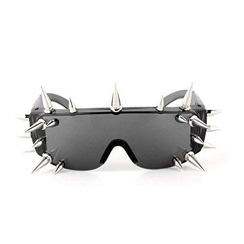 MINCL/Punk Rocker Large Shield Spike Fashion Novelty Club Sunglasses (Smoke, -