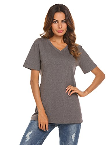 Qearal Tshirts for Woman Casual V Neck Tees Summer Clothes(Dark Grey, M)