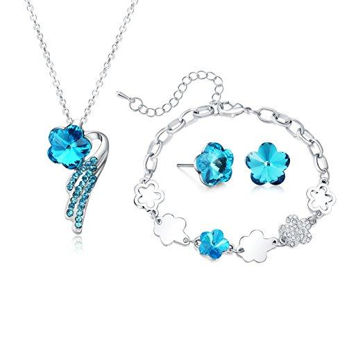 Necklace Pendant Bracelet Stud Earrings Jewelry Set For Women Teens Little Girls Kids Gift … (Blue)