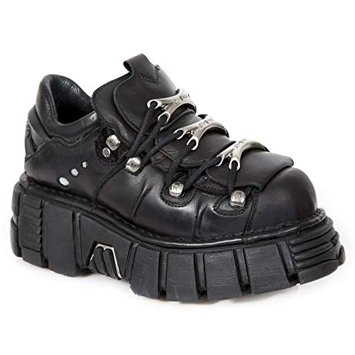 120 Leather Gothic Ankle Men's Women's New M Unisex Punk Boots Rock Black Heavy Heel Ladies S1 xPIwEqwR1Z