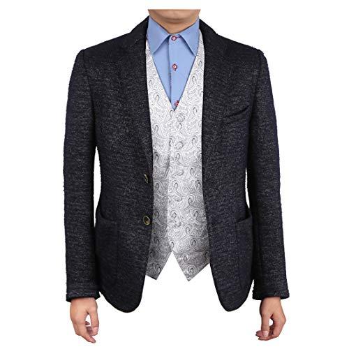 Epoint EGC1B08E-XL Silver Patterned Management Style Waistcoat Woven Microfiber Romance Series X-Large Vest