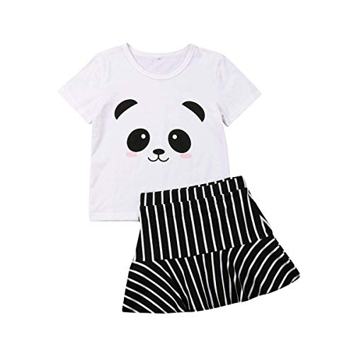 Infant Baby Toddler Girls Cute Panda Print T-Shirt Striped Skirt 2PCS Summer Clothes Set (Panda Tops Stripe Skirt, 6-12 Months)