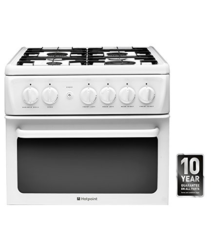 Hotpoint HAG51P Cooker Freestanding Gas Twin Cavity 50 Centimeter Polar White