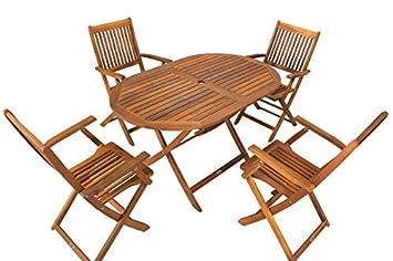 Miweba - Conjunto de mesa ovalada y 4 sillas plegables de ...