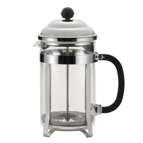 BonJour Coffee Stainless Steel French Press with Glass Carafe, 50.7-Ounce, Bijoux, Black Handle