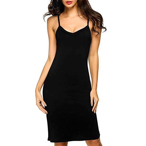 Guixiu Full Slips Lingerie Casual Deep V Nightgown Long Spaghetti Strap Cami for Women Black