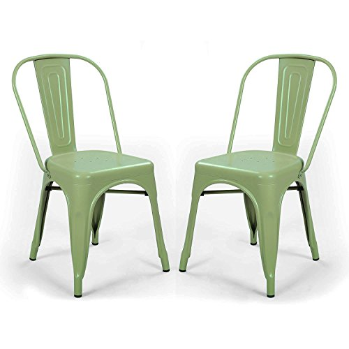 Asense Tolix Style Four Leg Indented Seat Metal Dinning Chairs/Side Chairs with Back (Set of Two) (Green)