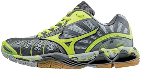 Mizuno Women's Wave Tornado X Volleyball Shoes, Grey/Safety Yellow, 9 B US by Mizuno