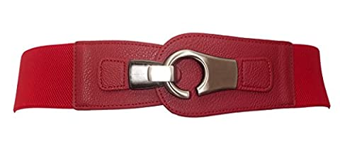 eVogues Plus size Brushed Silver Eyelet Locking Elastic Fashion Belt Red - One Size Plus - Eyelet Belt
