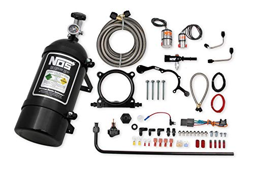 (NOS 02126BNOS Complete Wet Nitrous System; Adjustable; Incl. 10 lb. Black Bottle/Tubing/Wiring/Cheater and Cheater II Nitrous Solenoid/Gaskets/Flare Jets/0.5 in. Plate Height/Hardware;)
