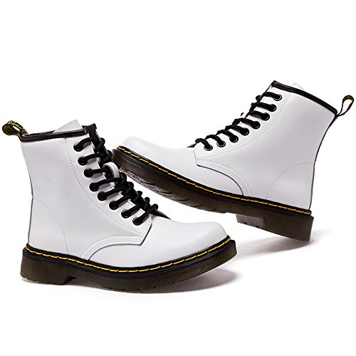 Damen Erwachsene Stiefel Weiß Herren Gefüttert Kurzschaft Schnürhalbschuhe Unisex Bootsschuhe SITAILE Winter Derby für Boots UqRA4