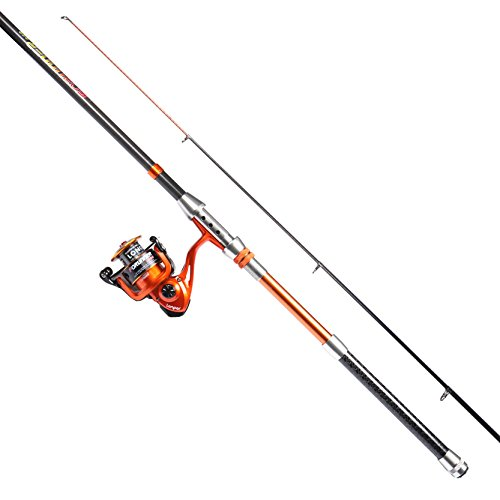 LONPAR Forunner Fishing Rod and Reel Combos Travel Portable Telescopic Fishing Rod with Spinning Reel Saltwater Freshwater Fishing Free (3.0M 9.84FT Rod + 4000 Reel + 20LB Nylon Line)
