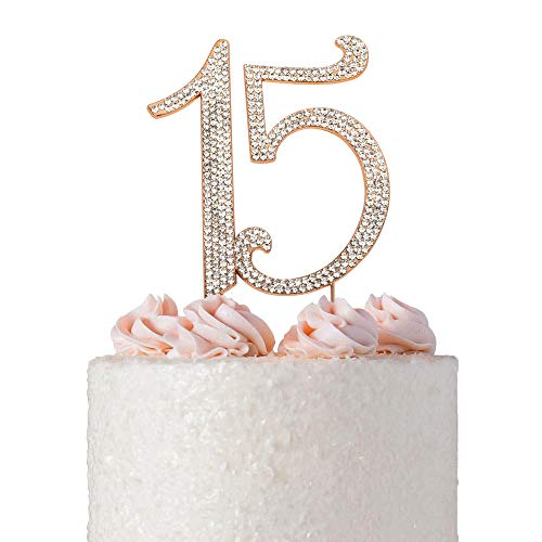 15 Quinceañera ROSE GOLD Birthday Cake Topper | Premium Bling Crystal Rhinestone Diamond Gems | 15th Birthday Anniversary Party Decoration Ideas | Quality Metal Alloy | Perfect Keepsake (15 Rose -