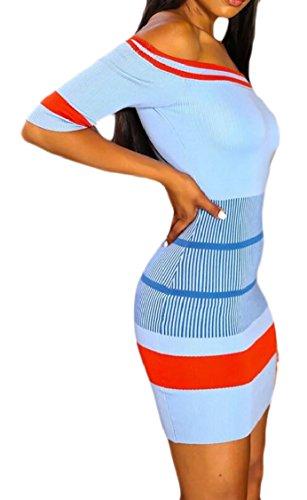 Out Women Mini Stripe Jaycargogo Dress Club Sexy Shoulder Bodycon Night Off Blue xFqOOB0wpd