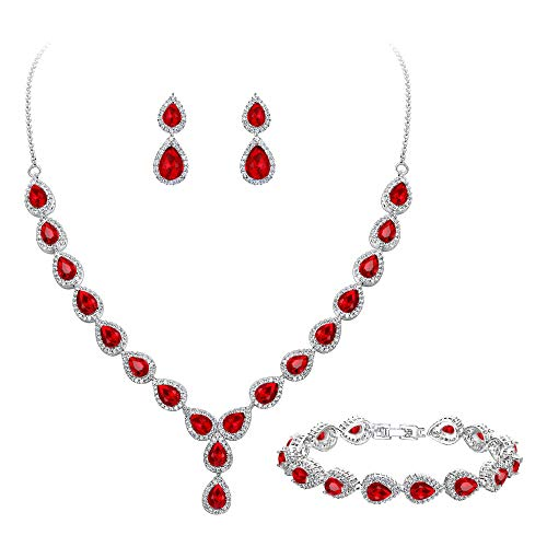 BriLove Wedding Bridal CZ Necklace Bracelet Earrings Jewelry Set for Women Teardrop Infinity Figure 8 Y-Necklace Tennis Bracelet Dangle Earrings Set Ruby Color Silver-Tone July Birthstone