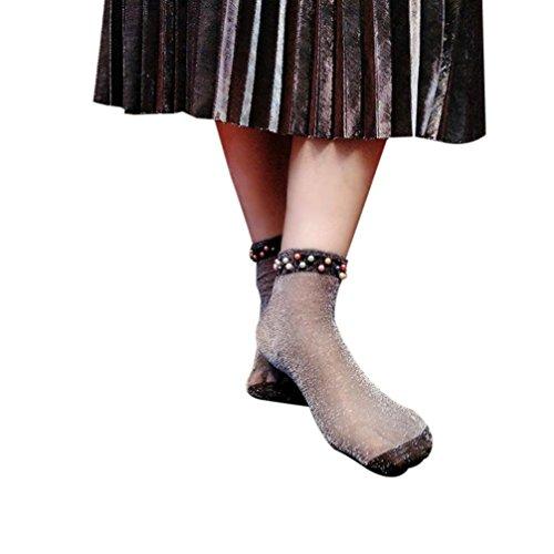Fheaven Women Summer Glitter Soft Lace Fishnet Mesh Short Ankle Socks Beads Stockings - Beads Sock