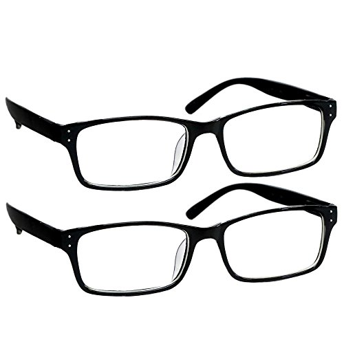Black Computer Reading Glasses 2.75 _ Protect Your Eyes Against Eye Strain, Fatigue and Dry Eyes from Digital Gear with Anti Blue Light, Anti UV, Anti Glare, and are Anti Reflective]()