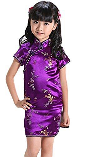Suimiki Girls Kids Plum Flower Bamboo Chinese Qipao Cheongsam Dress Costume Purple 14 -