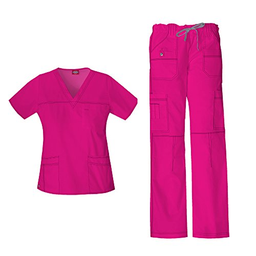 Dickies Women's Gen Flex Junior Fit 'Youtility' Top 817455 & Low Rise Drawstring Cargo Pant 857455 Scrub Set (Hot Pink - Medium)