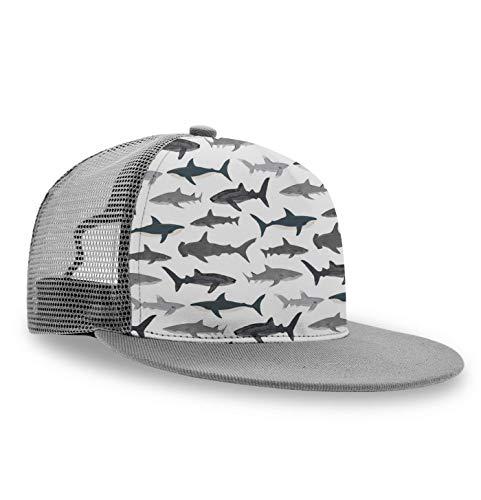 YongColer Flat Bill Hats for Men Boy, Shark Silhouette, Cool Trucker Hat Snapback Hat Graphic Hats Cap for Fishing, Running, Cycling