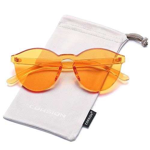 less Orange Glasses for Women Round Fashion Colorful Sunglasses (Orange) ()