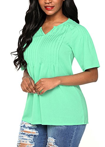 New Women Solid Color Short Sleeve Round Neck Tops Modal Tunic Blouse
