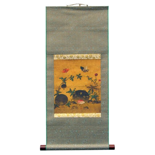 Korean Folk Painting - Watermelon and Mouse Silk Scroll Hanging Wall Art Interior Kitchen Decor Handmade Asian Oriental Print Korean Folk Painting