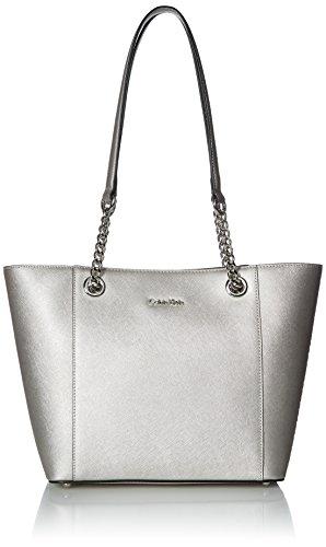 Calvin Klein Hayden Saffiano Leather East/West Tote - 1 Silver Handbag