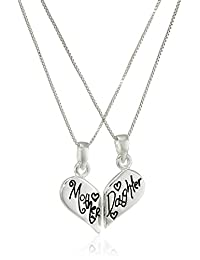 "Sterling Silver ""Mother Daughter Friends Forever"" Reversible Breakaway Heart with Two Chains Pendant Necklace, 18"""
