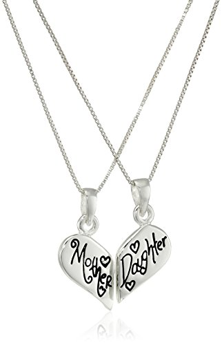 """Sterling Silver """"Mother Daughter Friends Forever"""" Reversible Breakaway Heart Pendant Necklace Set, 18"""" by Amazon..."""