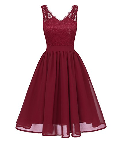Gorgeous Bridal Women's Vintage Floral Lace Contrast Cocktail Party Swing Casual Evening Dresses for Bridesmaid