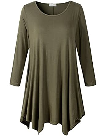 37e5f193069 Image Unavailable. Image not available for. Color  LARACE Lanmo Women Plus  Size 3 4 Sleeve Tunic Tops Loose Basic Shirt ...