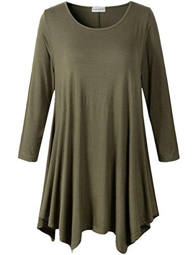 LARACE Lanmo Women Plus Size 3/4 Sleeve Tunic Tops Loose Basic Shirt (S, Army Green)