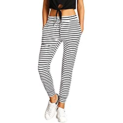 SweatyRocks Women Pants Colorblock Casual Tie Waist Yoga Jogger Pants (Small, #2White)