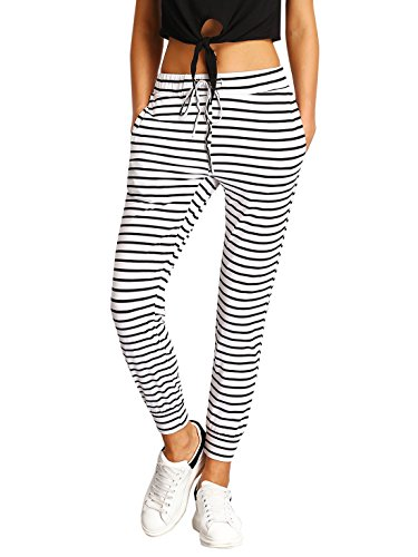 (SweatyRocks Women Pants Colorblock Casual Tie Waist Yoga Jogger Pants (Small, 2White))