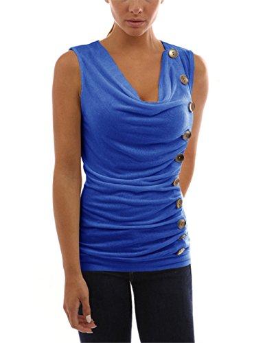 Tenxin T-Shirt Senza Maniche da Donna, T-Shirt da Donna Casual con Camicetta Estiva Scollo a V J-1
