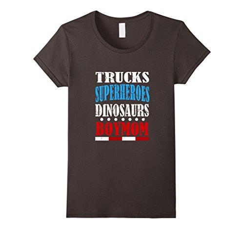 [Women's Funny Trucks Superheroes Dinosaurs Boy Mom T-shirt Meme Gift XL Asphalt] (Cool Female Superhero Costumes)