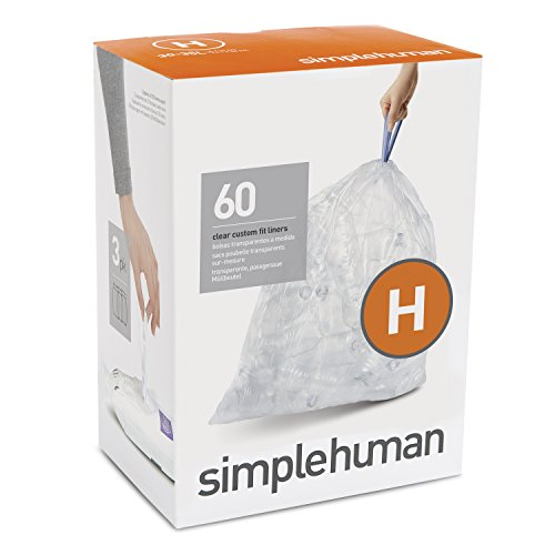 simplehuman Code H Custom Fit Recycling Liners, Drawstring Trash Bags, 30-35 Liter/8-9 Gallon, 3 Refill Packs (60 Count) clear (Human Simple Bin Liners)