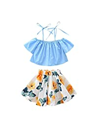 Tenworld Little Girls' Clothes Off Shoulder Tops + Floral Skirt 2pcs Outfits Set