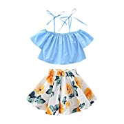 Tenworld Little Girls' Clothes Off Shoulder Tops + Floral Skirt 2pcs Outfits Set (2T, Blue)