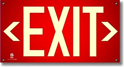 Photoluminescent Exit Sign Red W/Holes and Hardware - Code Approved Aluminum UL 924/IBC 2012/NFPA 101 2012