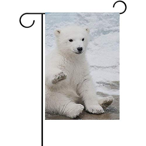 (Mesllings Cute Polar Bear Decorative Garden Flag Banner Polyester Welcome Seasonal Indoor Outdoor 12